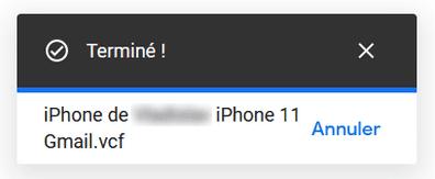 Import de contacts vers Gmail réussi