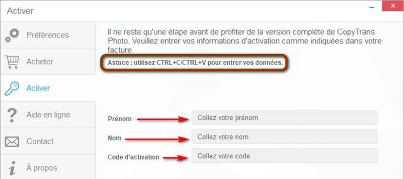 Entrer le code d'activation CopyTrans