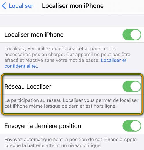 Localiser un iPhone hors ligne