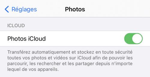 Photos iCloud activée