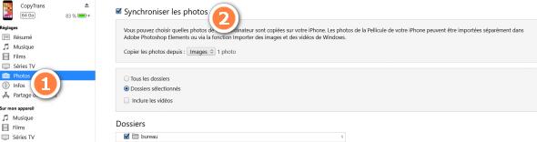 Synchroniser photos iPhone avec iTunes