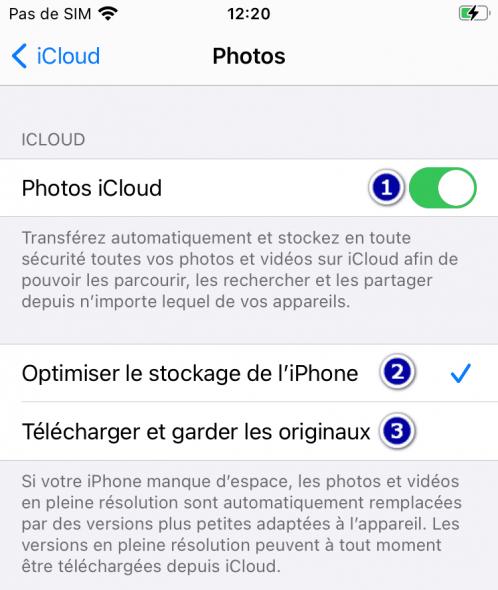 Désactiver synchronisation avec iCloud