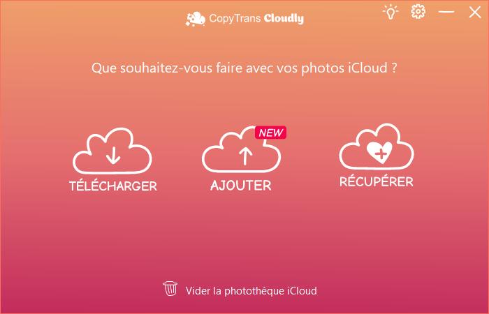 Ecran d'accueil de CopyTrans Cloudly
