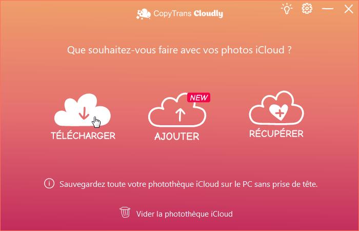 Télécharger la photothèque iCloud via CopyTrans Cloudly