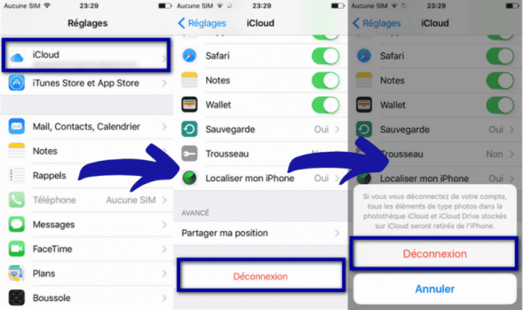 supprimer iCloud sous iOS11