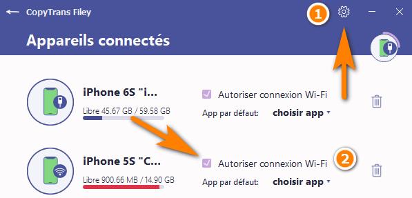 transférer fichiers avec Wi-Fi