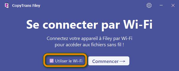 Se connecter par WiFi dans CopyTrans Filey