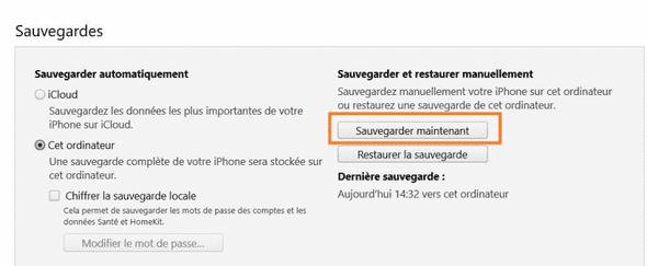 sauvegarde fichiers iPhone avec iTunes