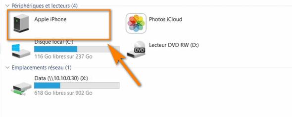 transférer photos iPhone avec USB