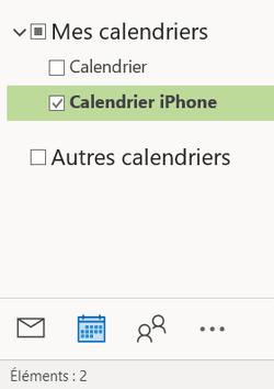 votre calendrier iPhone dans Outlook