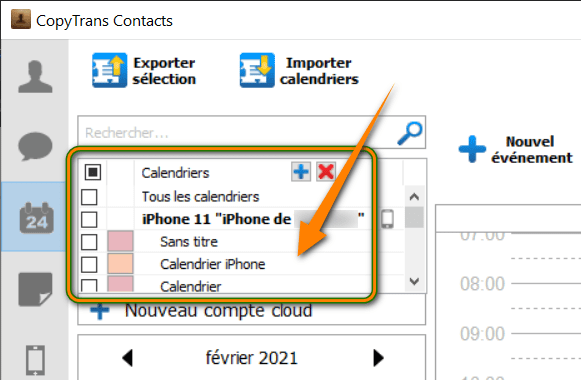 Vue des calendriers iPhone dans CopyTrans Contacts