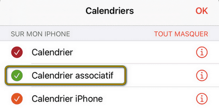 Calendriers iPhone