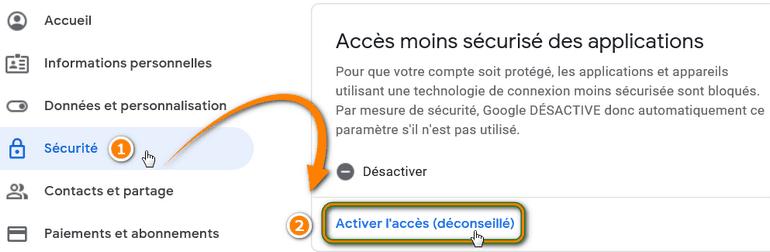 Menu Sécurité (compte Google)