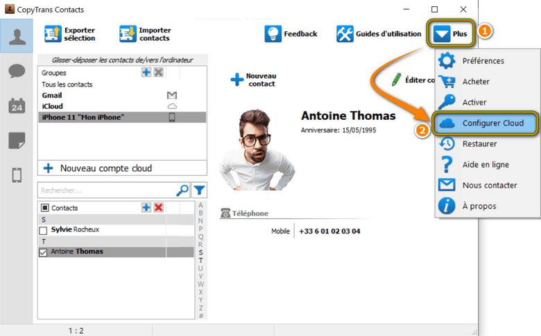 Configurer son compte cloud dans CopyTrans Contacts