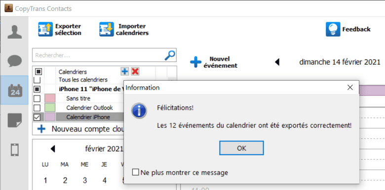Fin d'export des calendriers iPhone vers Outlook