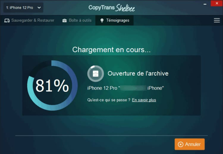 récupérer contacts iPhone avec CopyTrans Shelbee