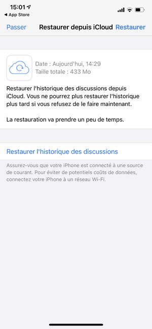Restaurer WhatsApp depuis iCloud