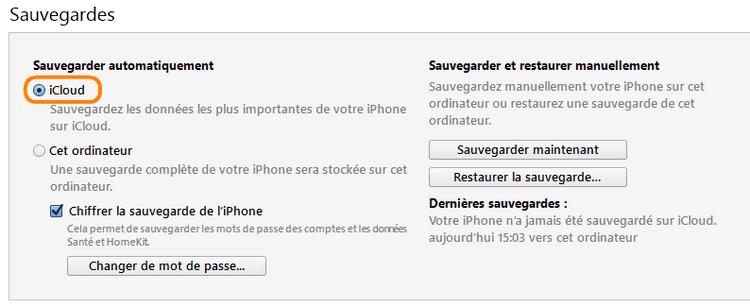 Sauvegarder iCloud depuis iTunes