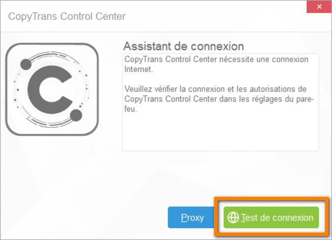 Cliquez sur le bouton Test de connexion