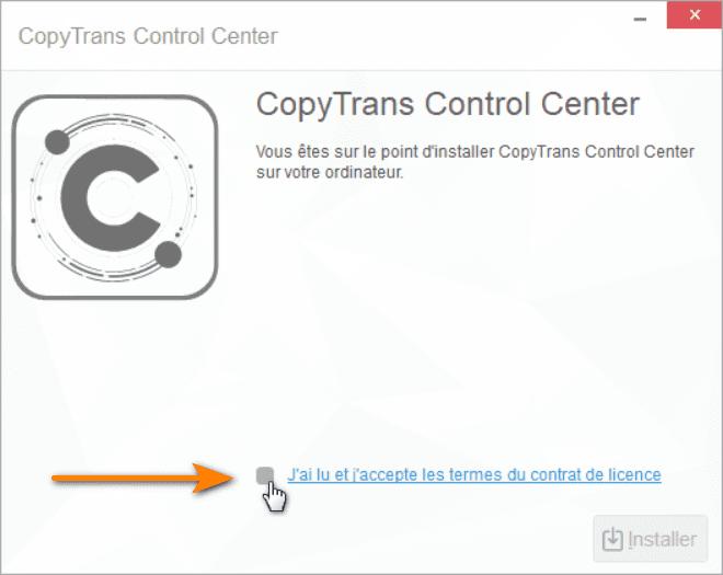 Accepter Contrat de licence CopyTrans