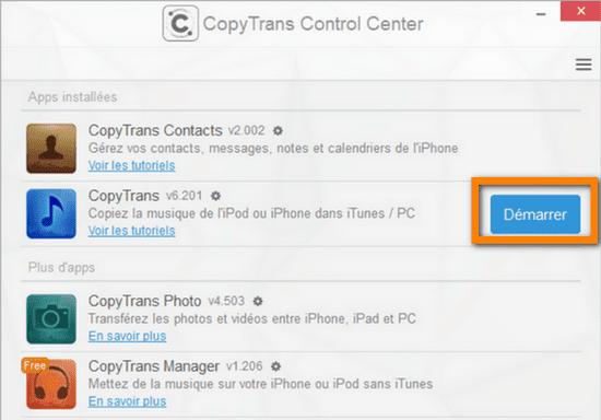 Démarrer les logiciels CopyTrans