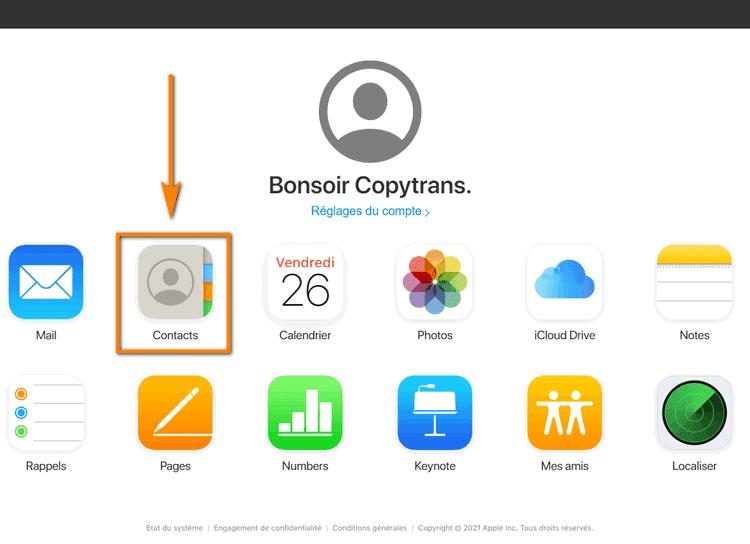 sélectionner contacts iCloud
