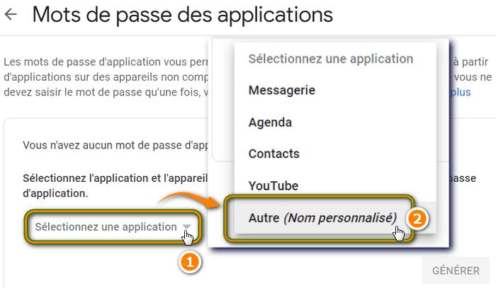Mots de passe des applications Google