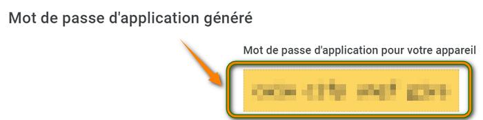 Mot de passe application Google généré