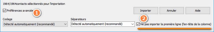 configurer import contacts