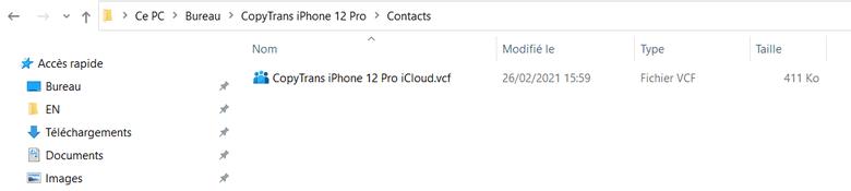 contacts iCloud sur PC