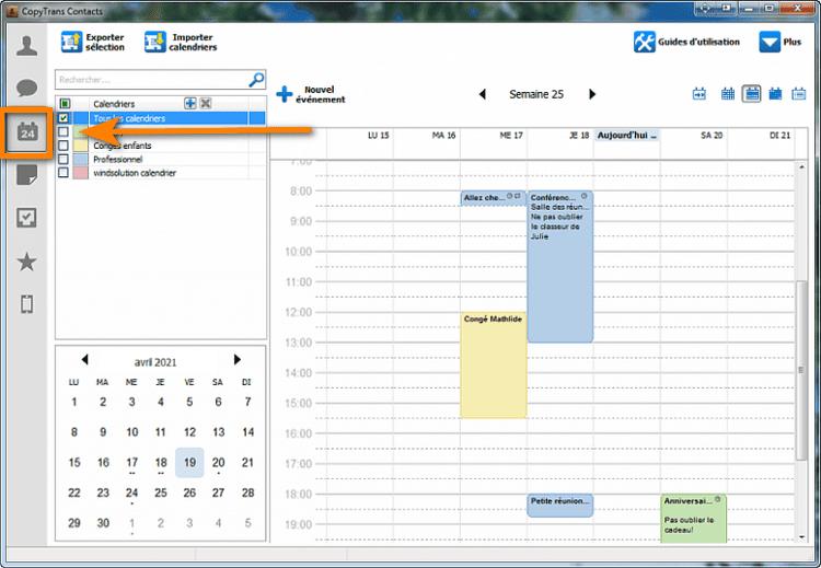 afficher un calendrier iPhone sur votre PC