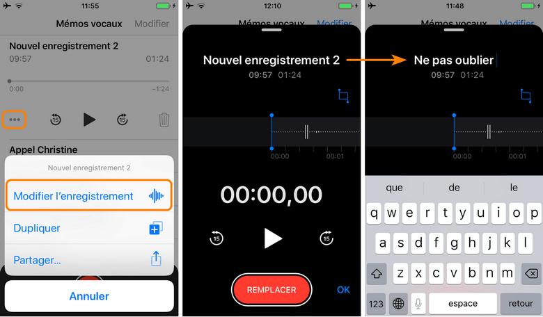 Changer le nom d'enregistrement vocal sur iPhone