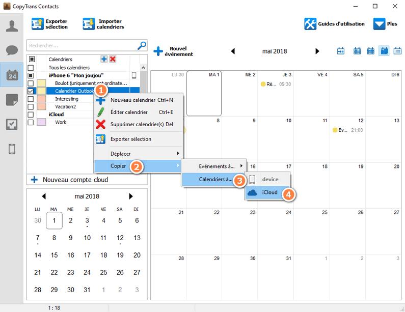 copier un calendrier Outlook vers iCloud