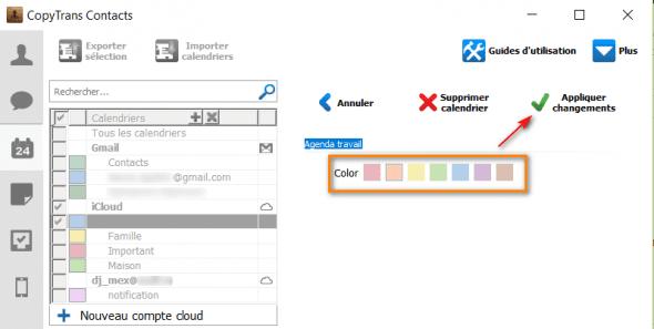 choisir une couleur d'un calendrier iphone