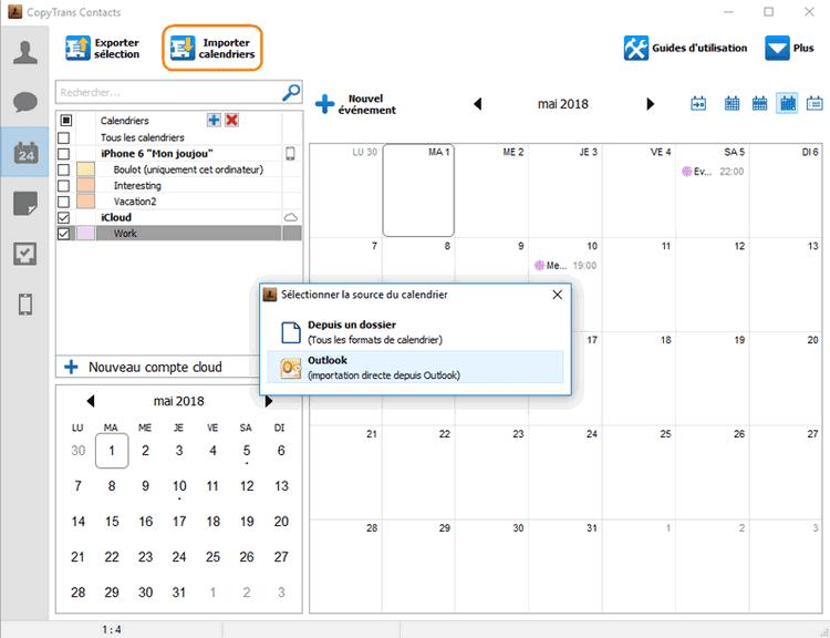 Importer un calendrier iPhone depuis Outlook