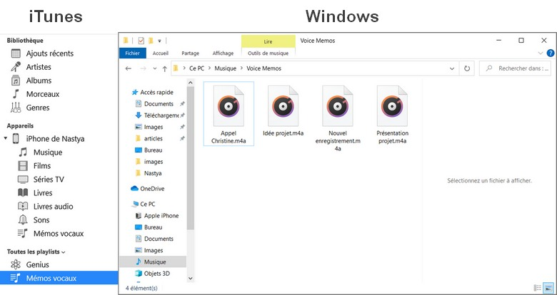 Le dossier Voice Memos sur Windows