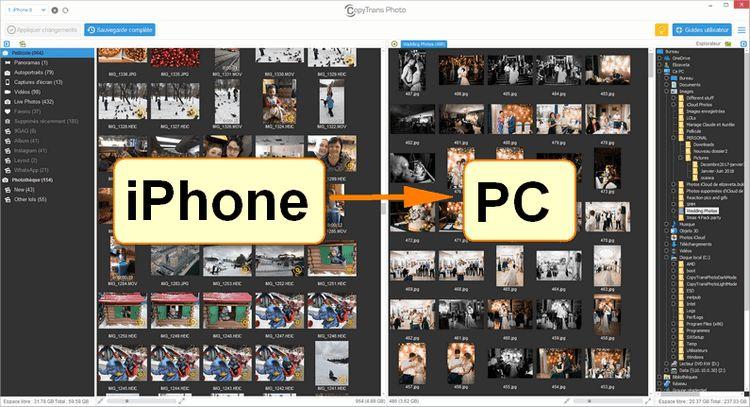 Copier photos iPhone vers le PC