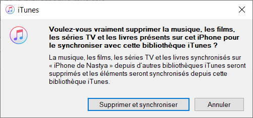 Supprimer pour synchroniser avec la nouvelle bibliothèque iTunes