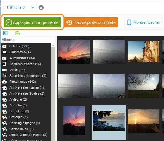 Appliquer changements de tris de photos iPad