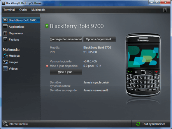 Exécutez BlackBerry Desktop Manager et connectez BlackBerry
