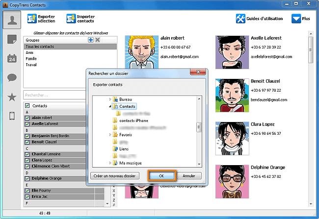 Sélectionner le dossier de sauvegarde sur Windows