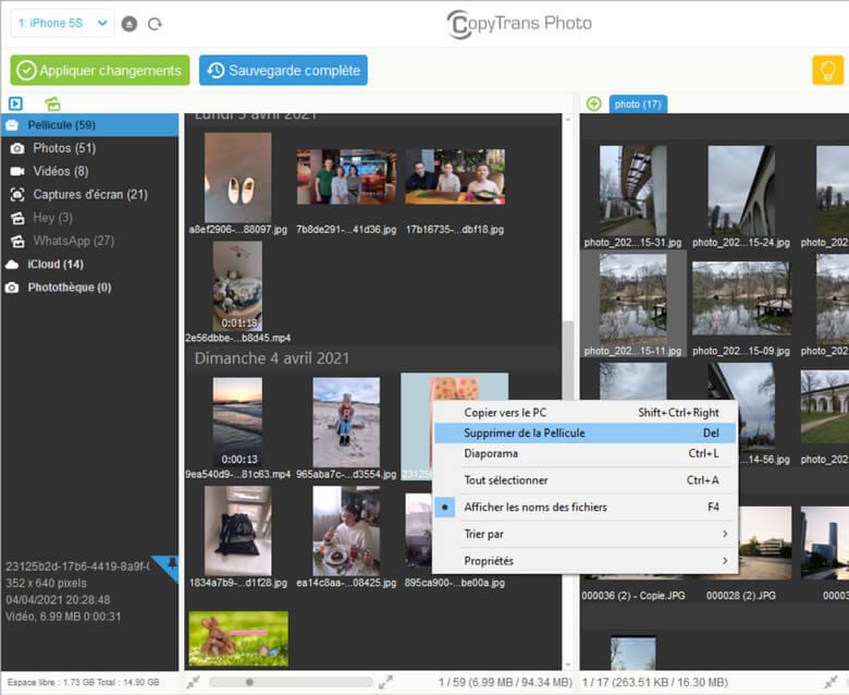 Avec CopyTrans Photo il est possible de supprimer les photos et vidéos