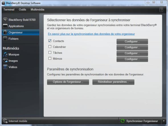 Dans l onglet Organiseur cochez Contacts Windows pour les synchroniser
