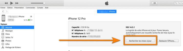 mettez à jour iOS depuis iYunes
