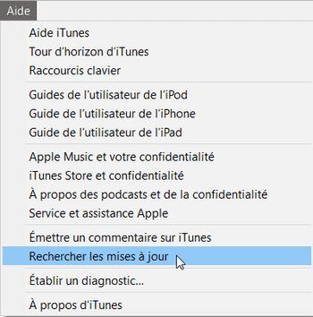 rechercher mises à jour iTunes dans le logiciel
