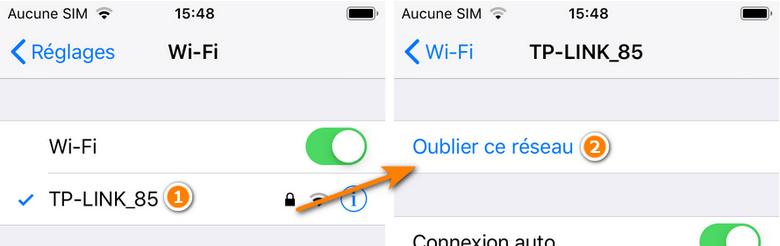 Oublier reseau wifi sur iphone