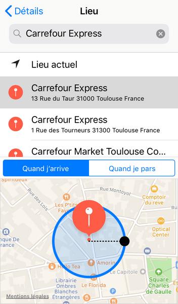 Vous pouvez ajouter une notification basee sur votre localisation
