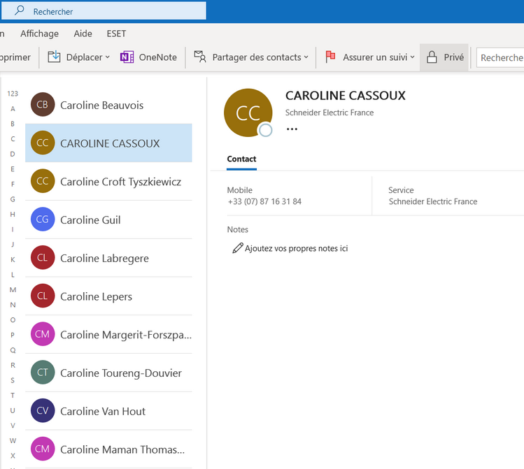 Contacts de l iPhone importes dans Outlook.com