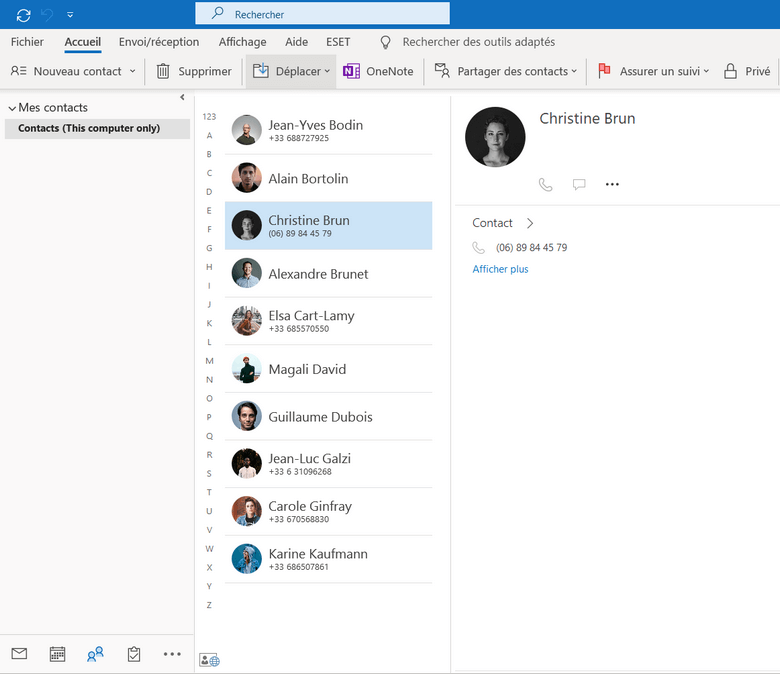 Les contacts iPhone sont transferes dans l onglet Contacts d Outlook