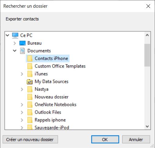 Choisir le dossier pour sauvegarder fichier csv